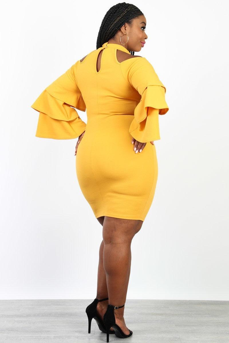 Plus Size Glam Tiered Sleeve Off Shoulder Dress