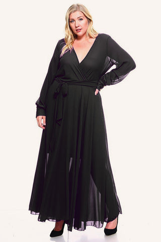 Plus Size Flowy Solid Waist Tie Wrap Dress