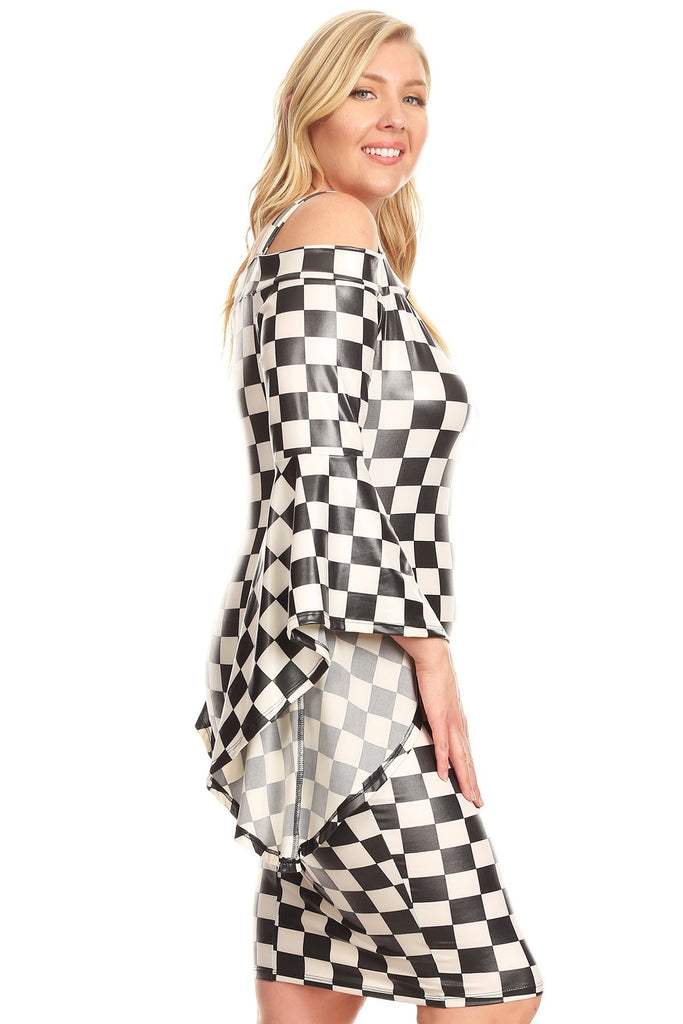 Plus Size Checkered Print Short cold Shoulder Dress