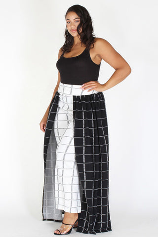 Plus Size Mod Style Grid Layered Wide Leg Pants