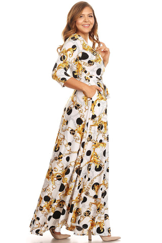 Plus Size Designer Gold Link Flowy Maxi Dress