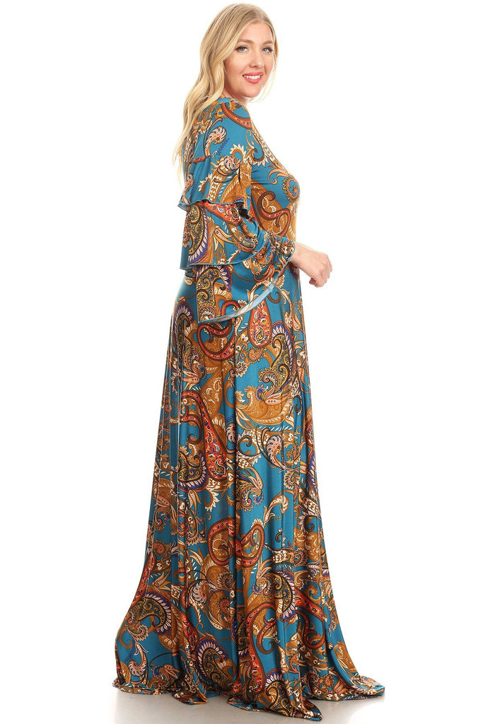 Plus Size Blue and Gold Paisley Print