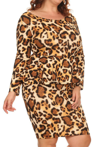 Plus Size Leopard Print Peplum Long Sleeve Dress