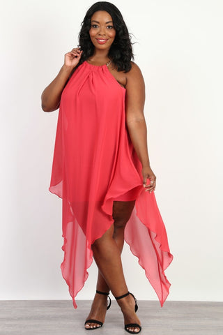 Plus Size Heavenly Flow Dip V Hem Dress
