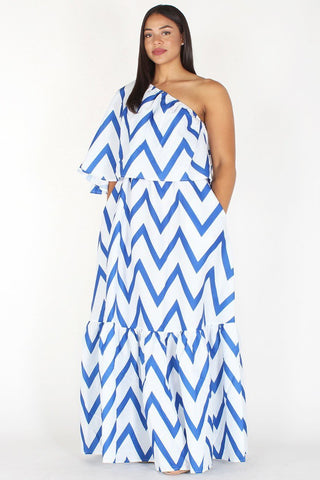 Plus Size Chevron Print Relaxed One Shoulder Maxi Dress