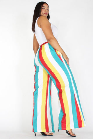 Plus Size Colorful Stripe Designer High Waistband Pants