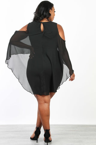 Plus Size Cold Shoulder Ciffon Layer Hi-Lo Dress