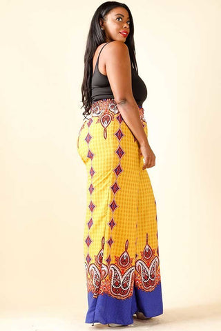 Plus Size Printed Border Wide Leg Polyester Pant Dress