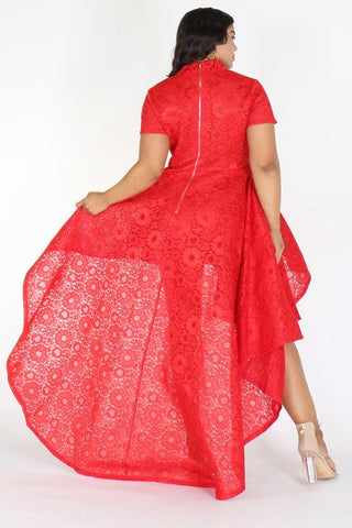 Plus Size Designer Flare Layered Hi Lo Dress Red