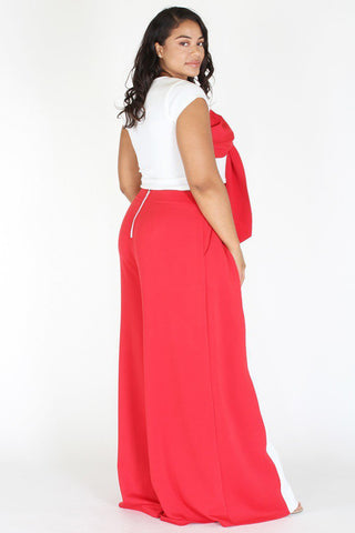 Plus Size Vibrant Ribbon Top Bottom Wide Leg Set [PRE-ORDER 25% OFF]