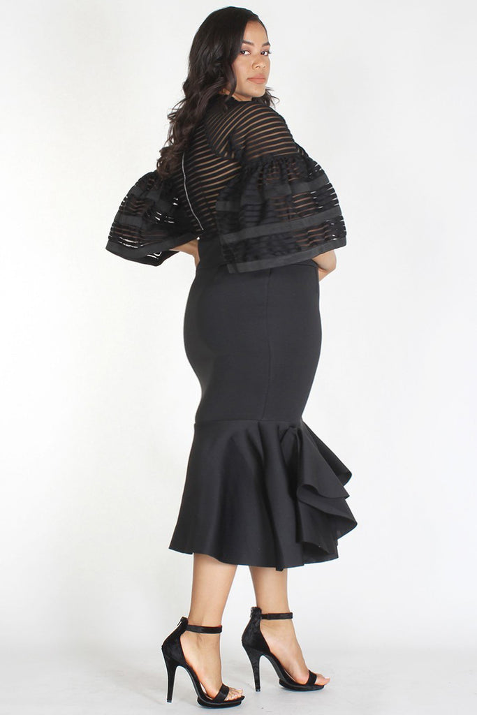 Plus Size Glam Shadow Maxi Stripe Bodice Techno Dress