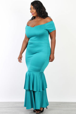 Plus Size Mermaid Tiered Maxi Off Shoulder Dress