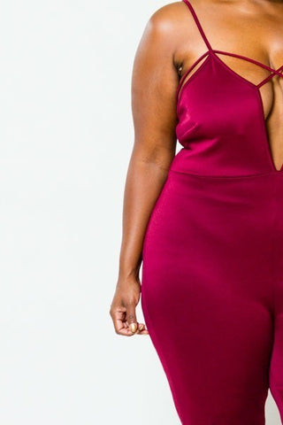 Plus Size Elegant Strappy Sexy Deep V Jumpsuit