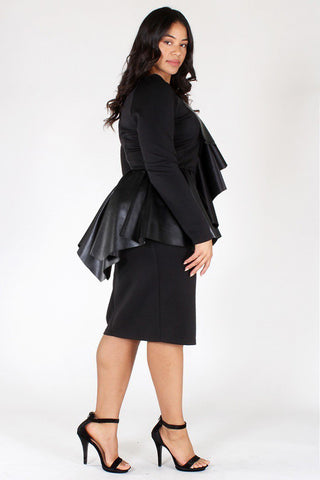Plus Size City Girl Ruffle Accent Peplum Dress