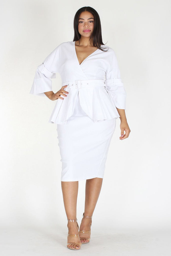 Plus Size Belted Wrap Neckline Peplum Zip Up Dress Plussizefix