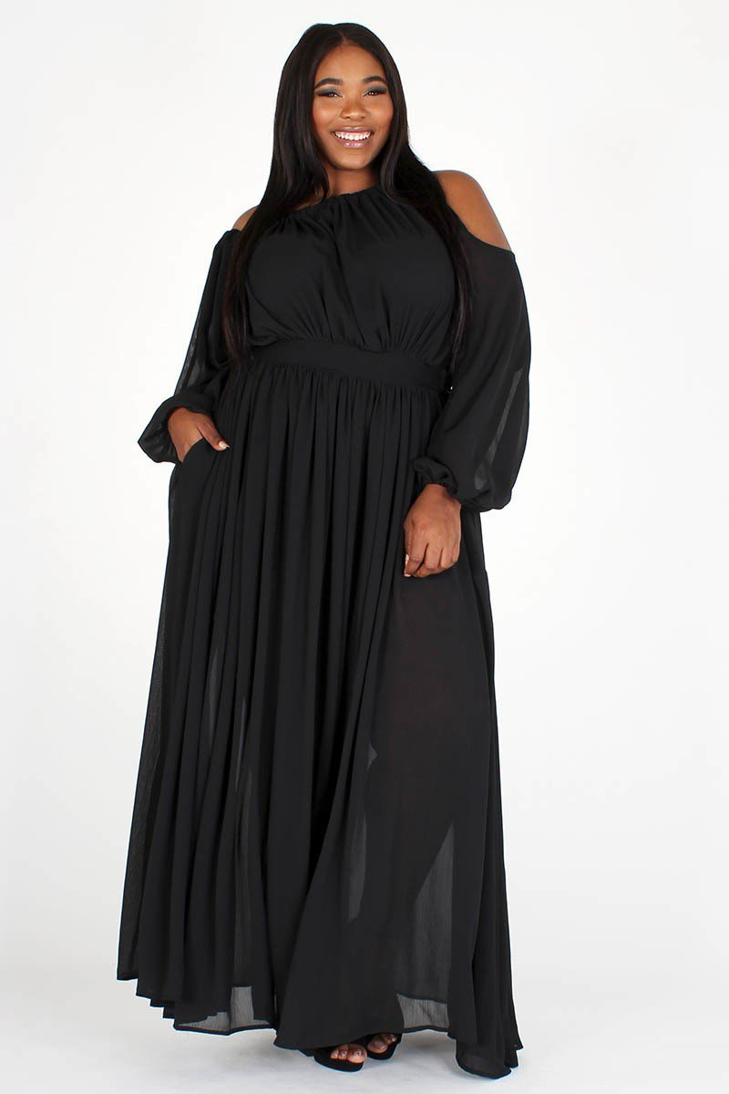 Plus Size Solid Off Shoulder Bubble Sleeve Maxi Dress