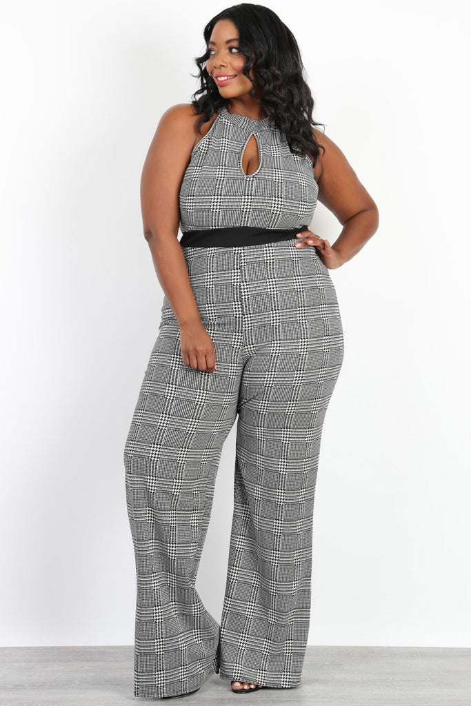 Plus Size Babydoll Front Keyhole Houndstooth Jumpsuit