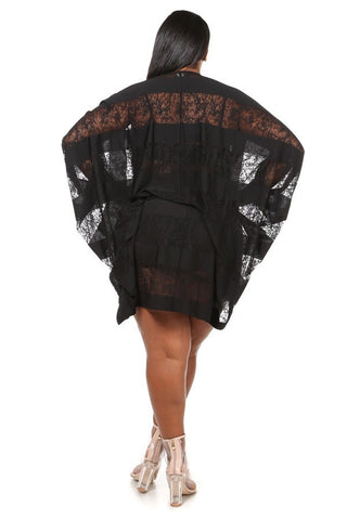 Plus Size Flirty See Through Relaxed Cardigan