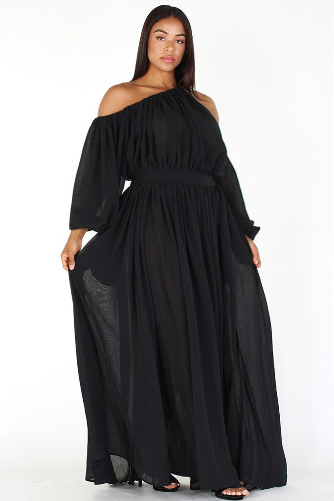 05905bd8578 Plus Size Queen Flow Off Shoulder Maxi Dress – Plussizefix