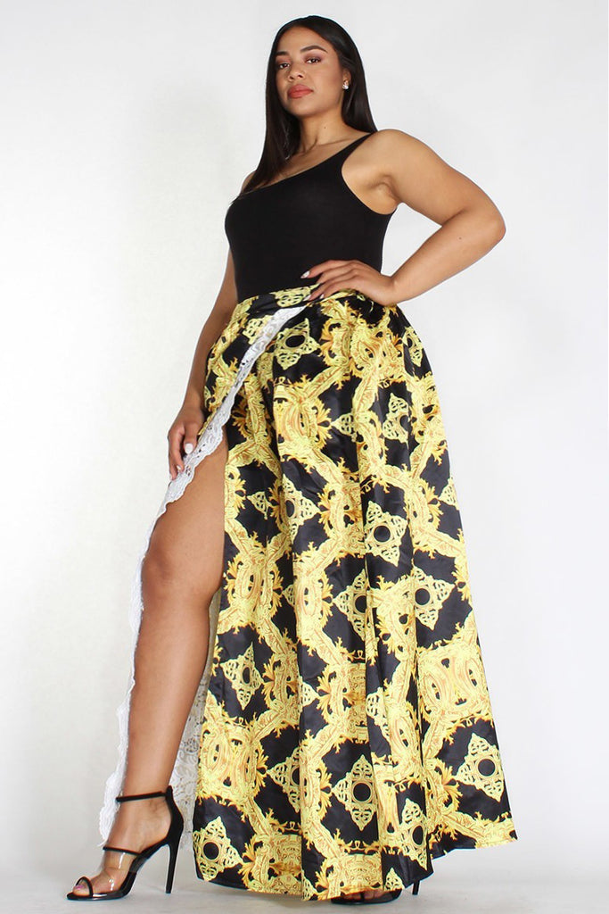 Plus Size Embroidered Open Slit Gold Maxi Skirt