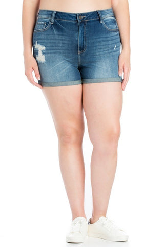 Plus Size Sally light Denim Shorts With Shredded Detailing