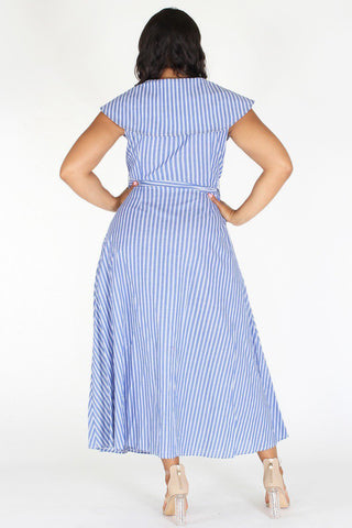 Plus Size Shawl Collar Ribbon Tie Stripe Maxi Dress [PRE-ORDER 25% OFF]