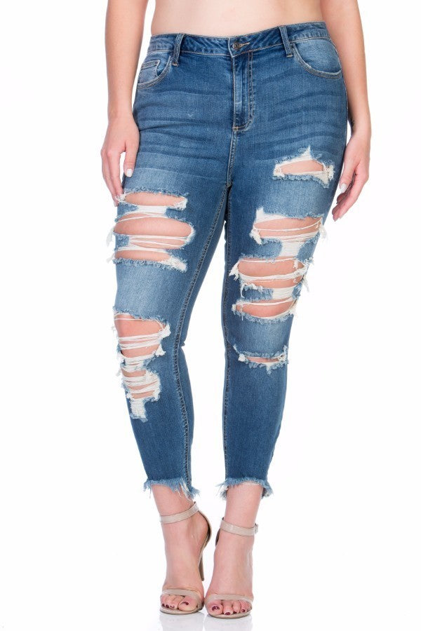 Plus Size A Zip Fly Closure Dark Denim Jeans
