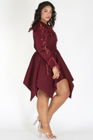 Plus Size Classy Lace Up Peplum Flare Top Dress Burgundy