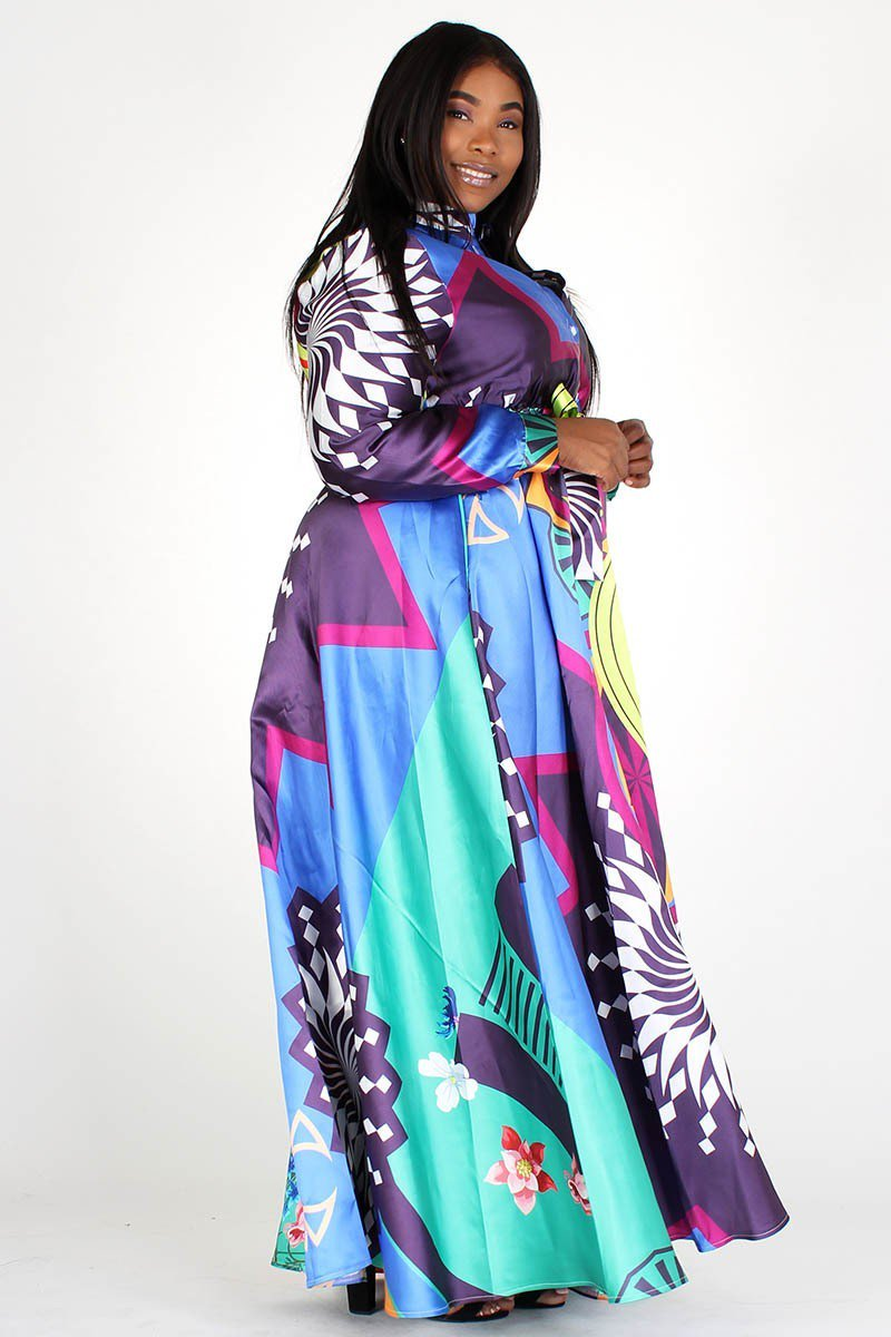 Plus Size Colorful Floral Print Pocketed Maxi Dress
