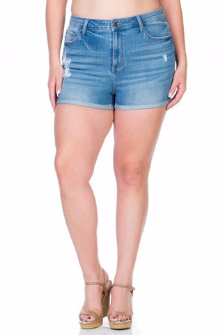 Plus Size Sally Light Washed Denim Shorts With Five Pockets