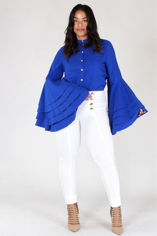 Plus Size Elegant Bell Sleeves Button Up Top [PRE-ORDER 25% OFF]