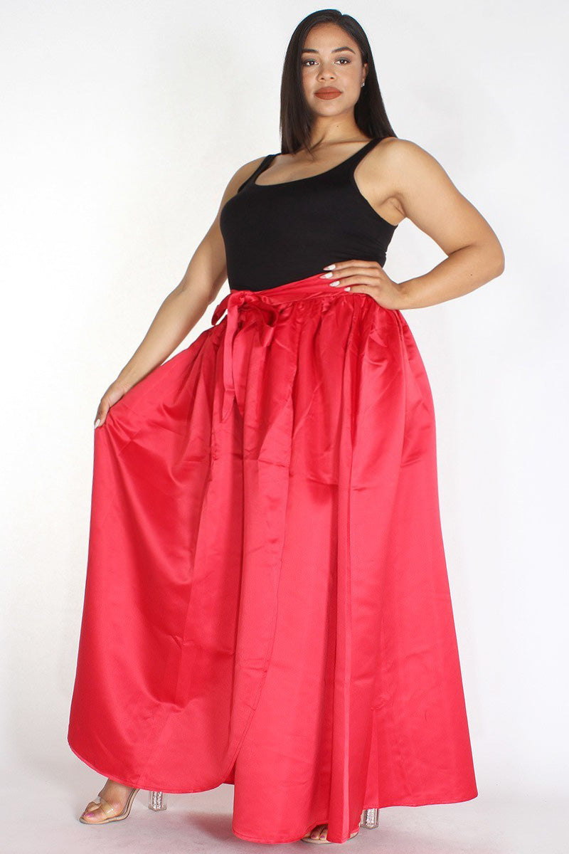 Plus Size Satin Silhouette Waist Tie Maxi Skirt Red