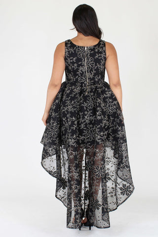 Plus Size Gorgeous Detailed Floral Hi Lo Sleeveless Dress [PRE-ORDER 25% OFF]