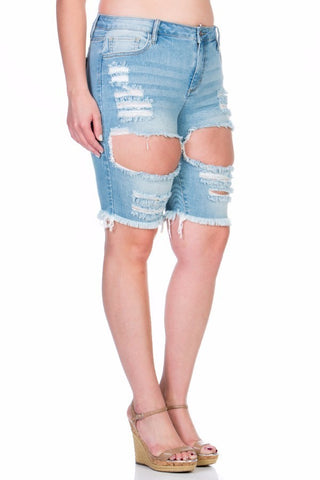 Plus Size Essential Washed Bermuda Denim Short Jeans