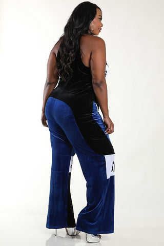 Plus Size Velvet Designer Colorblock Jumpsuit