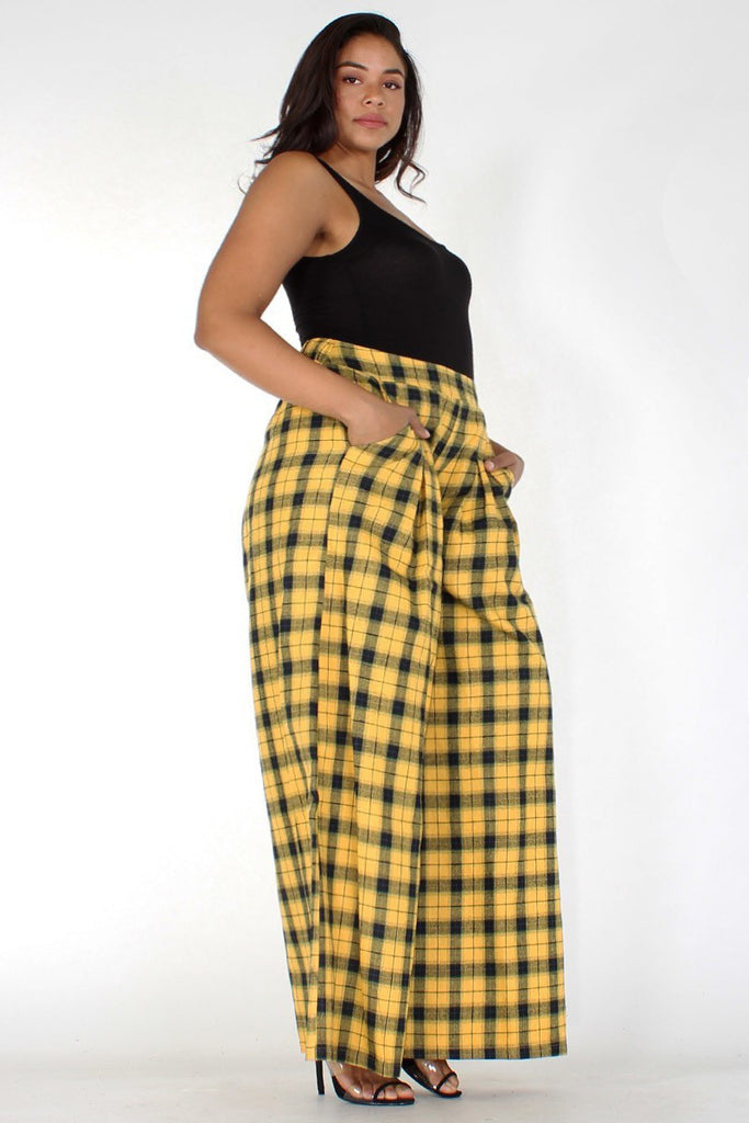 Plus Size Chic Plaid Wide Leg Pants [PRE-ORDER]