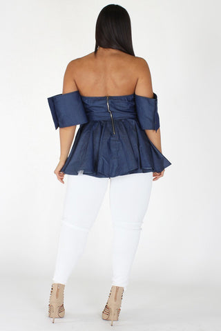 Plus Size Elegant Off Shoulder Denim Flare Top [PRE-ORDER 25% OFF]