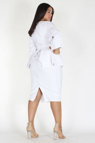 Plus Size Belted Wrap Neckline Peplum Zip Up Dress