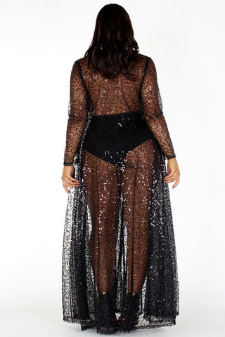 Plus Size Shimmering Sheer Sequin See Through Maxi Dress