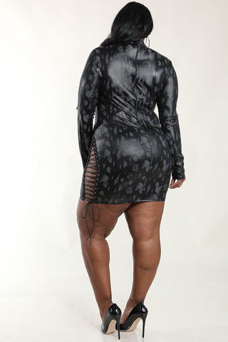 Plus Size Lace Up Foiled Animal Print Bodycon Dress