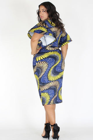 Plus Size Abstract Designer Flutter Sleeves Dress