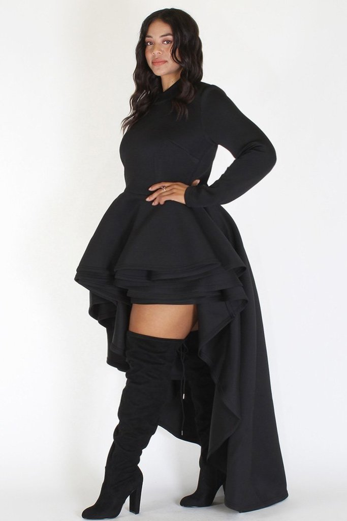 Plus Size Long Sleeve Glam Hi Low Tiered Dress Black – Plussizefix