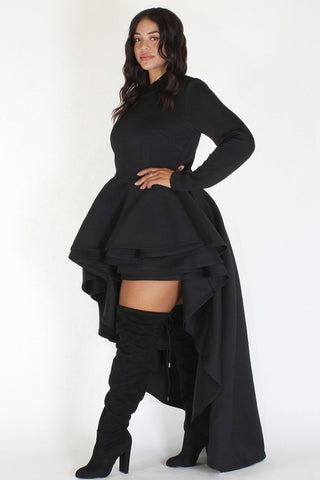 Plus Size Long Sleeve Hi Low Tiered Body Top Black