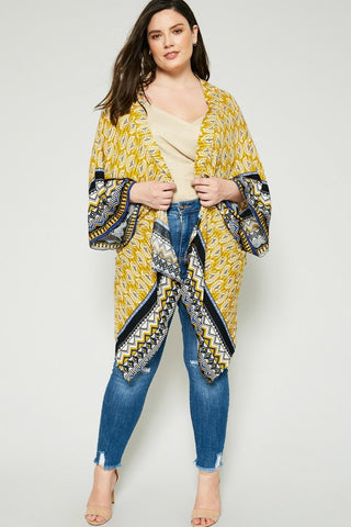 Plus Size Designer Print Relaxed Sleeves Asymemetrical Top