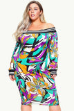 Plus Size Off Shoulder Colorful Floral Dress Teal