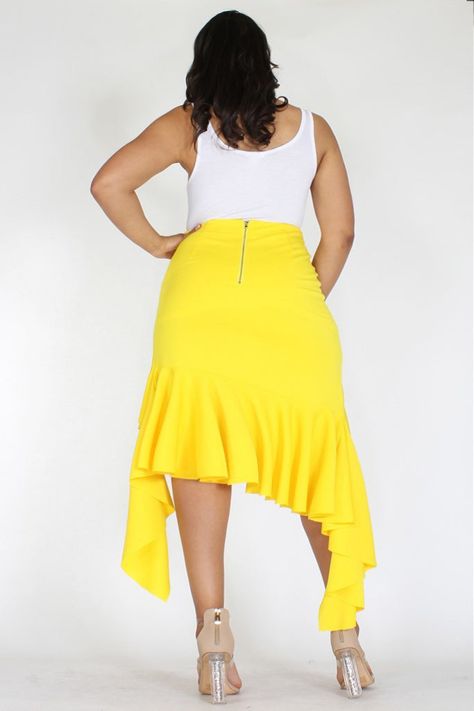 Plus Size Asymmetrical Hem Mermaid Skirt Yellow