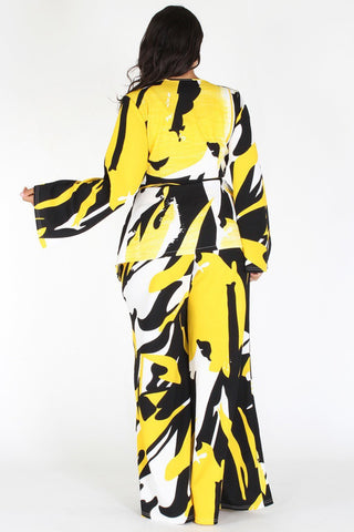 Plus Size Vibrant Abstract Tie Around Top & Wide Leg Set [PRE-ORDER 25% OFF]