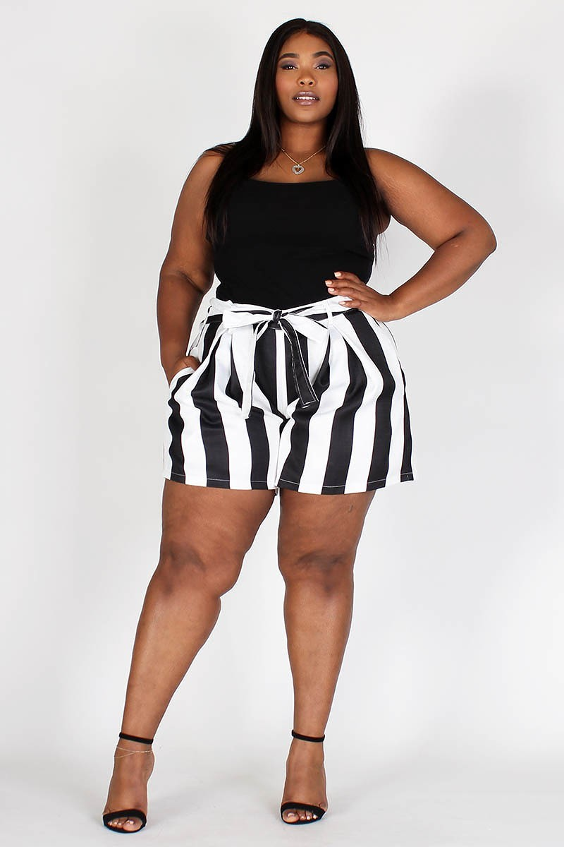 Plus Size Stripe Banded Waist Flared Shorts