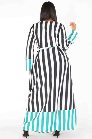 Plus Size Stripe A Line Waist Tie Wrap Maxi Dress
