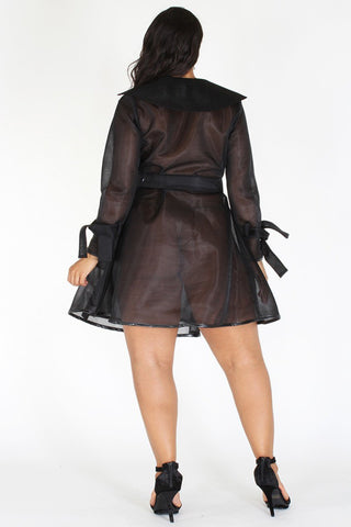 Plus Size Chic See Through Tie Around Coat Jacket [PRE-ORDER 25% OFF]